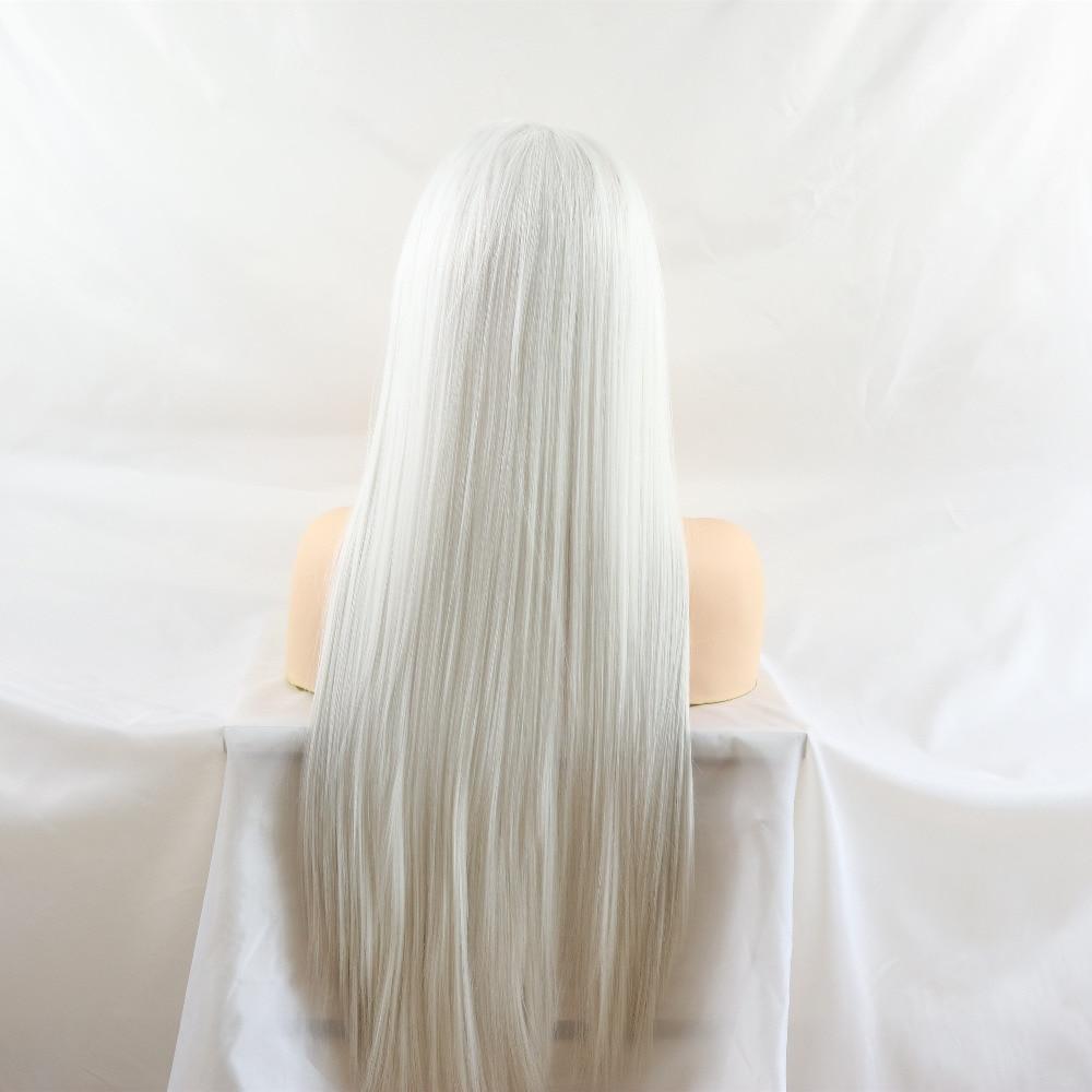 calor sintético frente do laço perucas brancas peruca cosplay