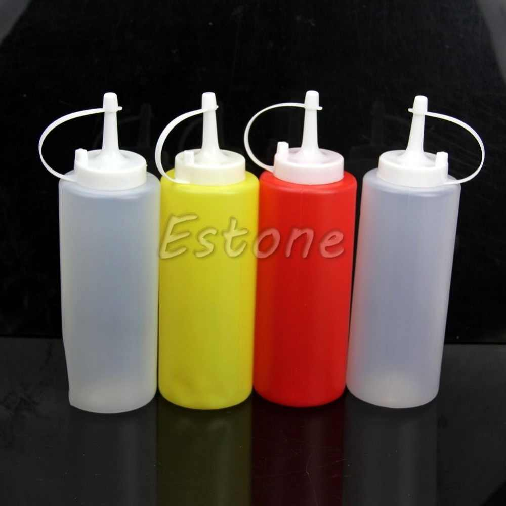 2 x 350ml Kitchen Plastic Squeeze Dispenser Cruet Bottles Sauces Oils Ketchup New