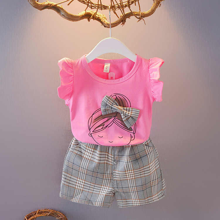 Retail Children's Clothing Cartoon T-shirt & Plaid Shorts Girl's Set Summer Baby Girl 2 Pieces Sets