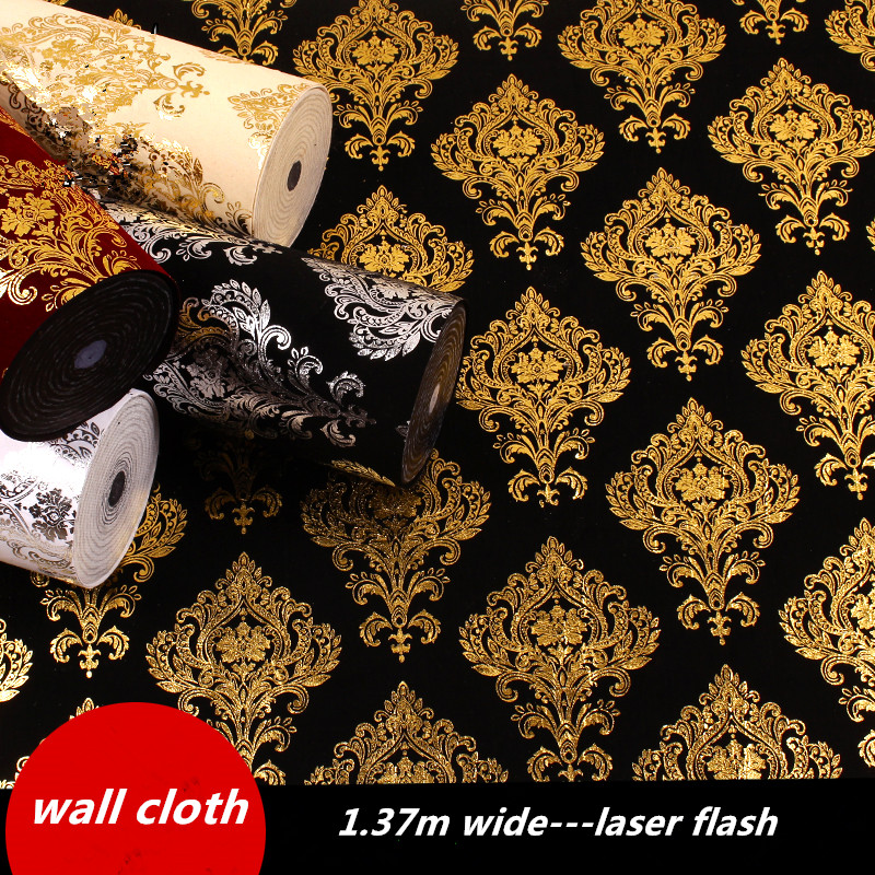 1.37m Wide 3d Flash Wall Cloth European Wall Paper Bar Wallpaper Entertainment Hall Decoration Gold Foil Metal Texture Laser