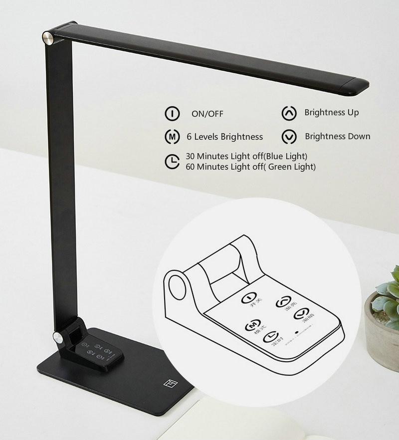 12W Super Thin Aluminium Desk Lamp 30 Birghtness Touch Dimmer USB Charge Phone LED Foldable Work Desktop Lamp for Reading
