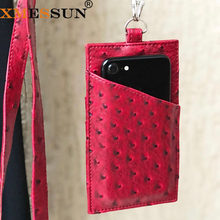 2019 New Genuine Leather Card Holder Phone Wallet Cow Leather With Lanyardr Pouch Phone Bag For iPhone X XS Max XR 6 6S 7 8 Plus(China)