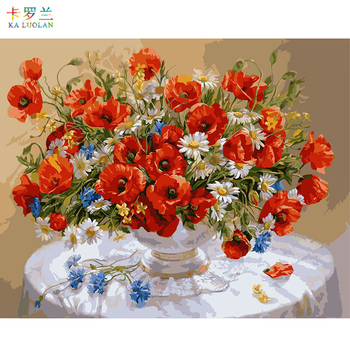 Cyfrowe obrazy olejne według liczb dekoracje dla domu diy farba na prezent z płótna rzemiosło obraz kolorowanie numerami canker rose