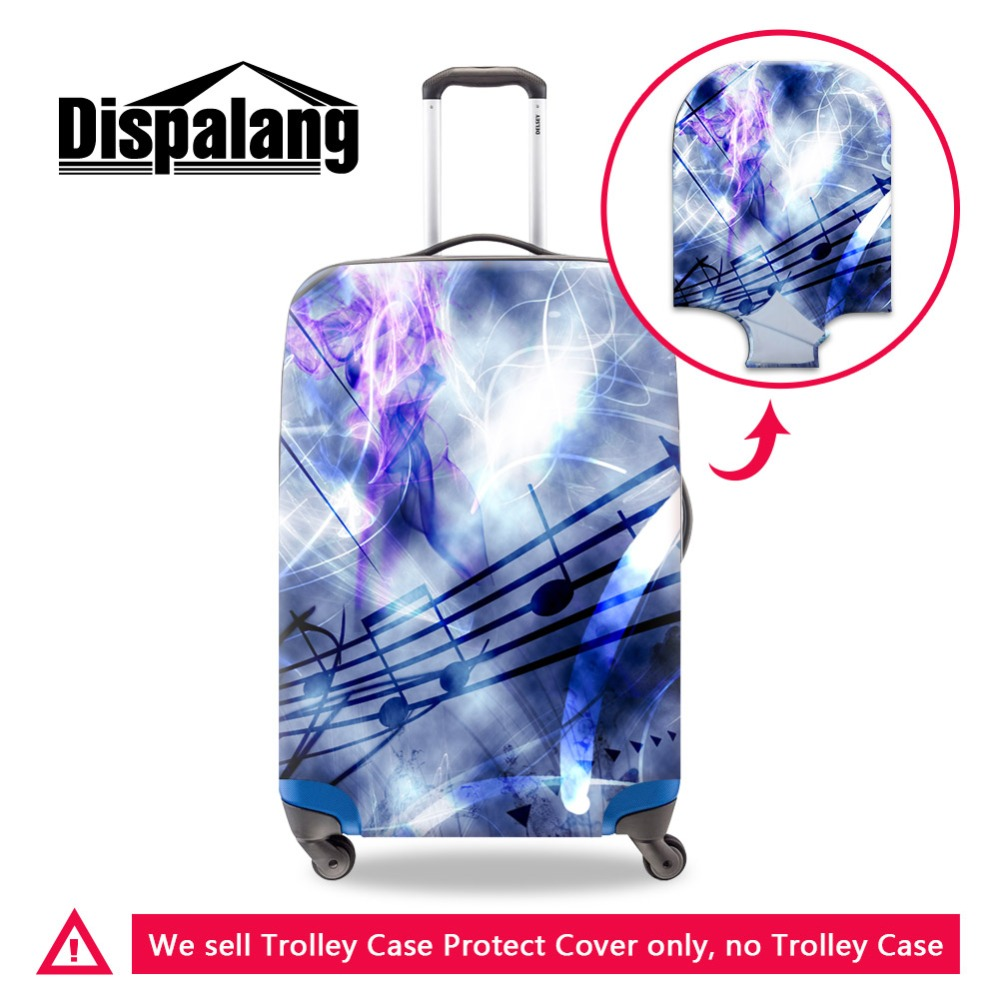 Dispalang Waterproof Cover For Luggage Suitcase Protective 3D Musical Note Printed Luggage Covers With Custom Logo Words Photo