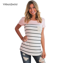 YIRANSHINI mujeres corto manga Top moda o-cuello rayas mujeres camisetas LC250067-3