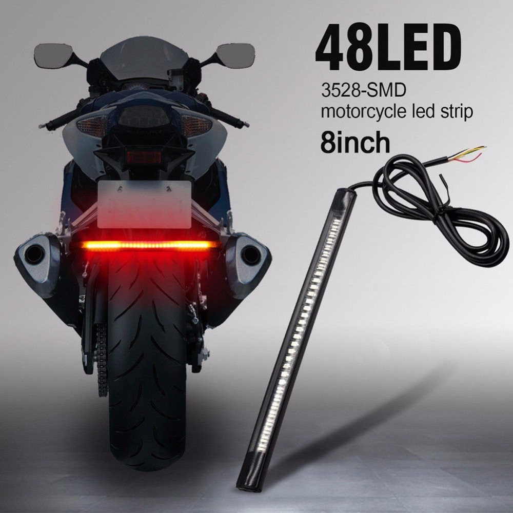 Moto Motorcycle LED 48SMD Flexible License Plate Lamp Tail Brake Stop Turn Signal Integrated 3258 LED Light Strip Assist Lamp