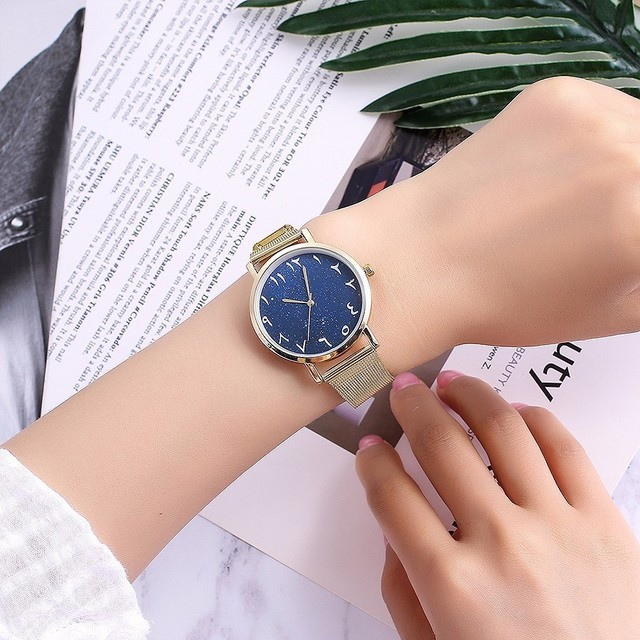 Hot Fashion Women Silver Mesh Arabic Numbers Watches Casual Stainless Steel Stars Dial Quartz Wristwatches Relogio Feminino