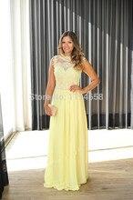 2016 Sexy Lady New Fashion Classic Chiffon Kappen-hülsen Durchsichtig Gelb Flowy Friesen Bodenlangen Pageant Abendkleider