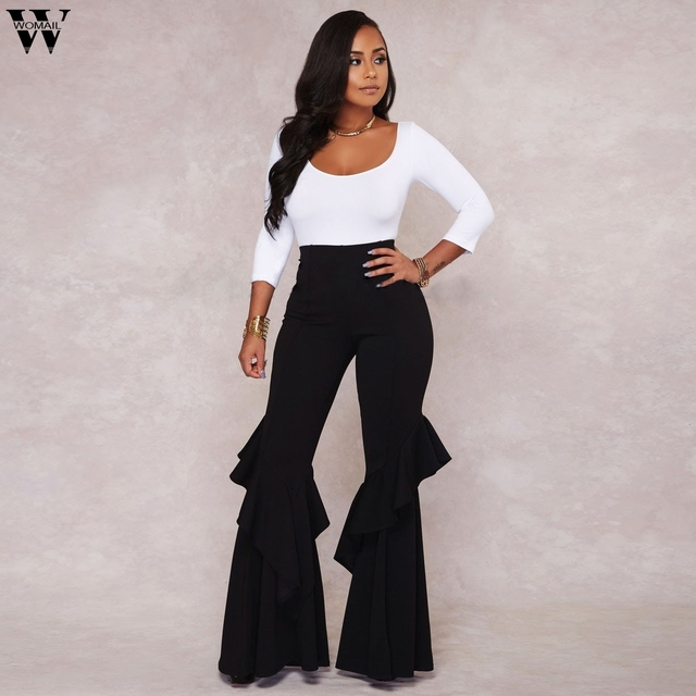645260b73c WOMAIL Womens High Waist Fitted Flared Frill Hem Palazzo Trouser Ruffle  Party Pants Ankle-Length High Flannel Pants D5W30