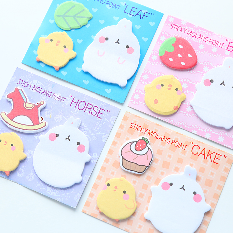 4Pcs/Lot New Molang Rabbit N Times Self-Adhesive Memo Pad Sticky Notes Post It Bookmark School Office Supply Gift E2117