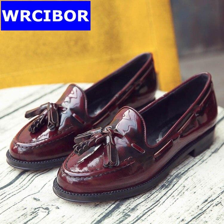 PLUS Size 33 41 Patent leather Vintage Flat Oxford Shoes font b Woman b font flats