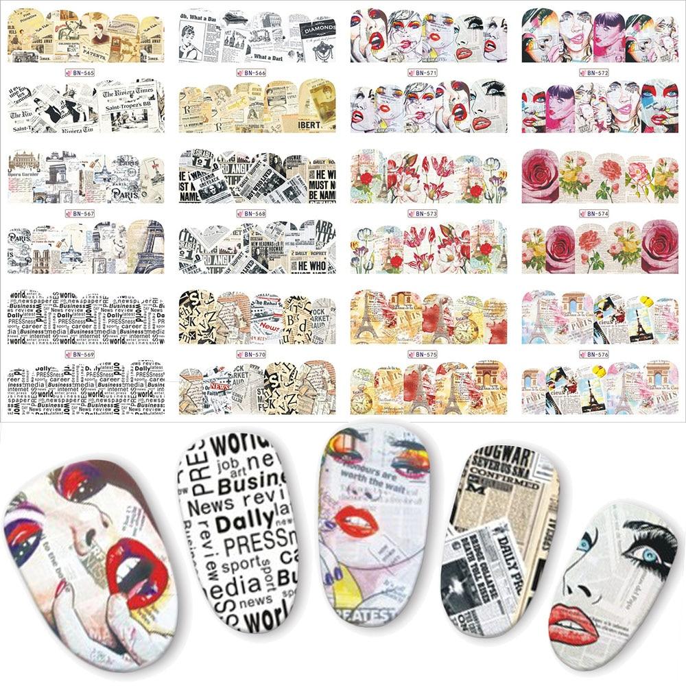 12pcs New Retro Design Newspaper Urban Girl DIY Water Nail Art ...