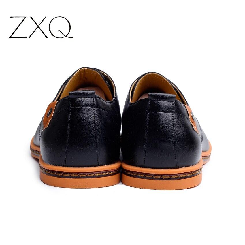 2019 Leather Casual Men Shoes Fashion Men Flats Round Toe Comfortable Office Men Dress Shoes Plus Size 38-48 4