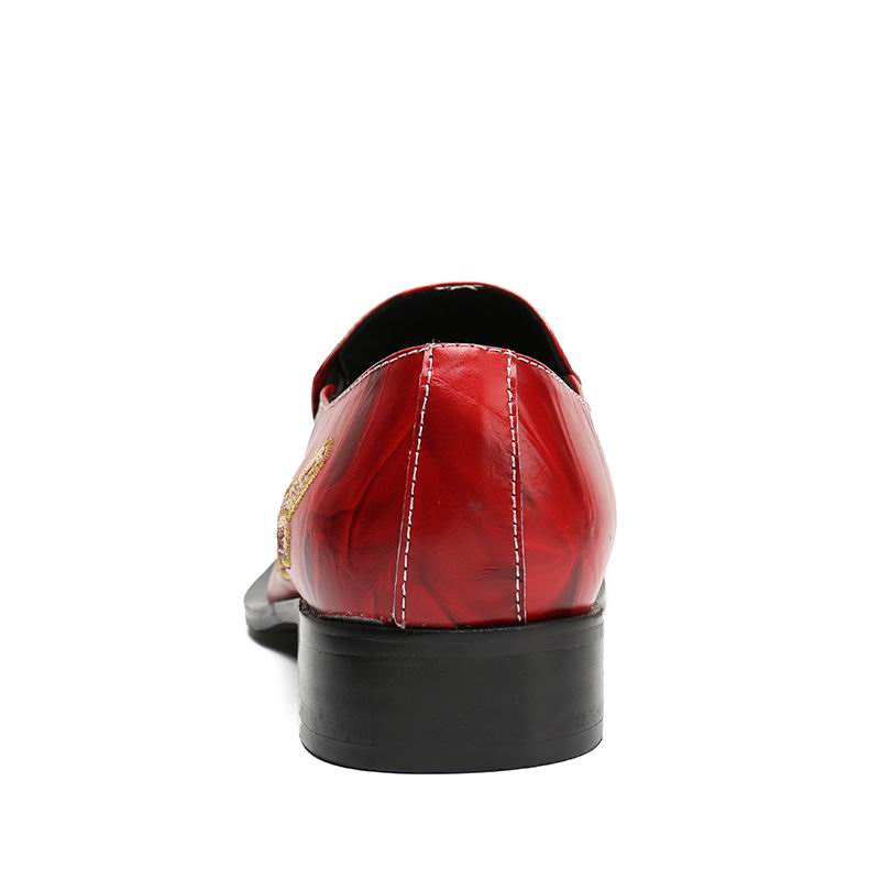 Do Em Ouro Pé Deslizamento Sapatas Moda Homens Glitter Partido Dos Couro Metal Errfc Vermelho 46 De Designer Dedo Sapatos Personalizados Lazer Pattern Leopard CU0qH