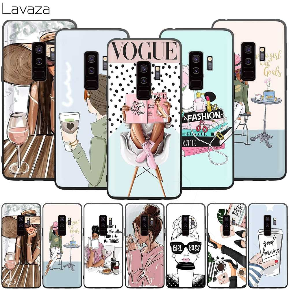Lavaza Vogue Princess Girls Female Coffee Case for Samsung Galaxy S10 S9 S8 S7 S6 Plus Note 9 8 M30 M20 M10 Edge