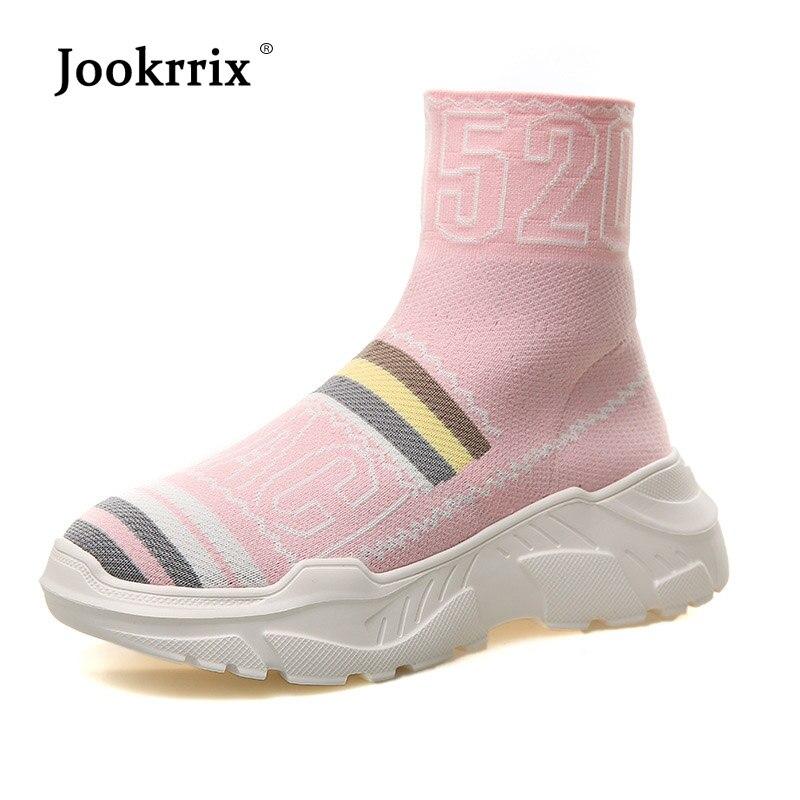 2d850d8f rojo Calzado Elasticidad Calcetín Zapatos Moda Mujer Otoño Señora Chaussure  Marca 2018 rosado Jookrrix Negro Transpirable Digital Plataforma Yn0Pqa40C