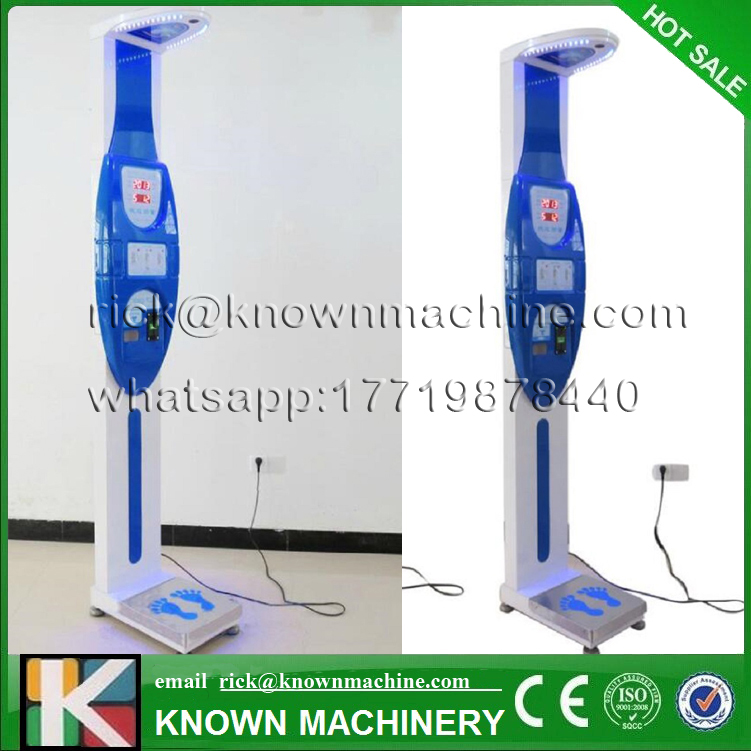 KN-18 Coin-operated Ultrasonic Body Height Weight Measuring Machine free shipping by sea vending ultrasonic height and weight bmi fat blood pressure machine with coiner and printer kn 15a with high clear lcd