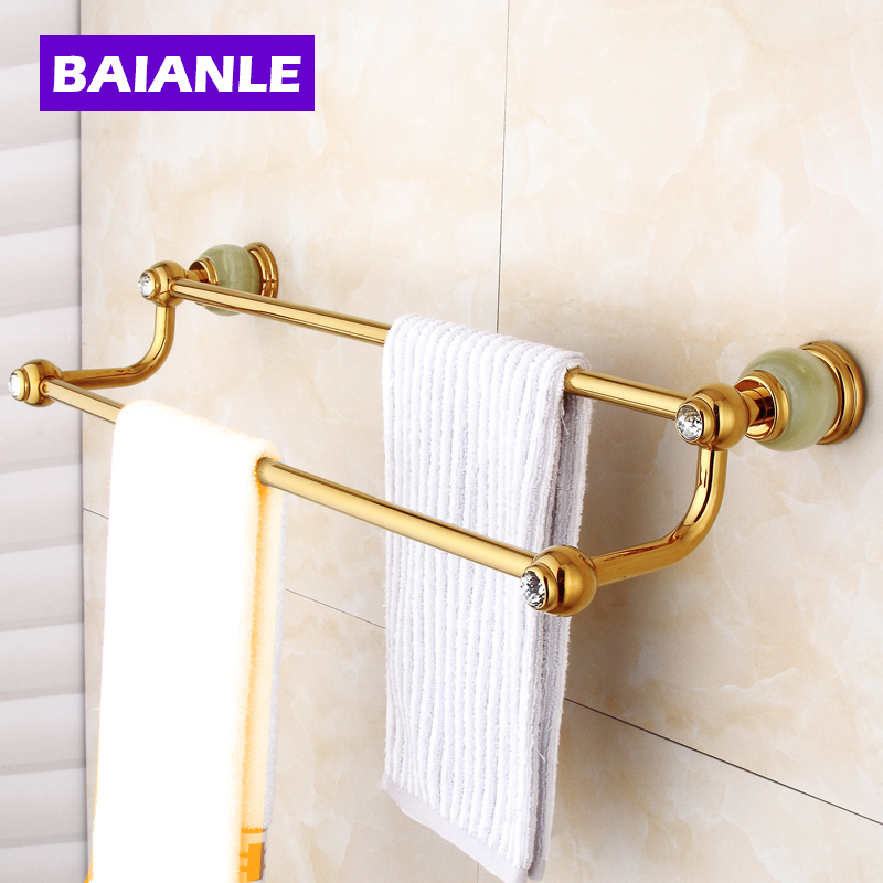Golden Jade Bathroom Towel Bars Double Towel Hanger Solid Brass Accessories