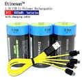 3 pièces 1.5 v Lithium li polymère 9000mWh D taille batterie rechargeable type D pour lampe de poche, chauffe eau ect. + Câble de chargement USB