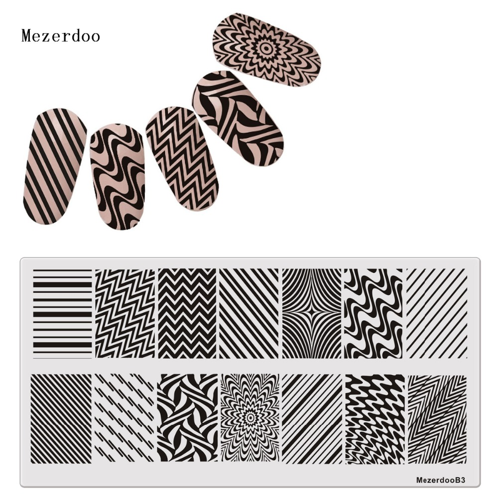 Line Wave 1Pc Rectangle Stamping Plate Pattern Nail Art Image Plate Template Set Steel Stainless Steel