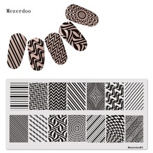 Line Wave 1Pc Rectangle Stamping Plate Pattern Nail Art Image Stainless Steel Stamp Template