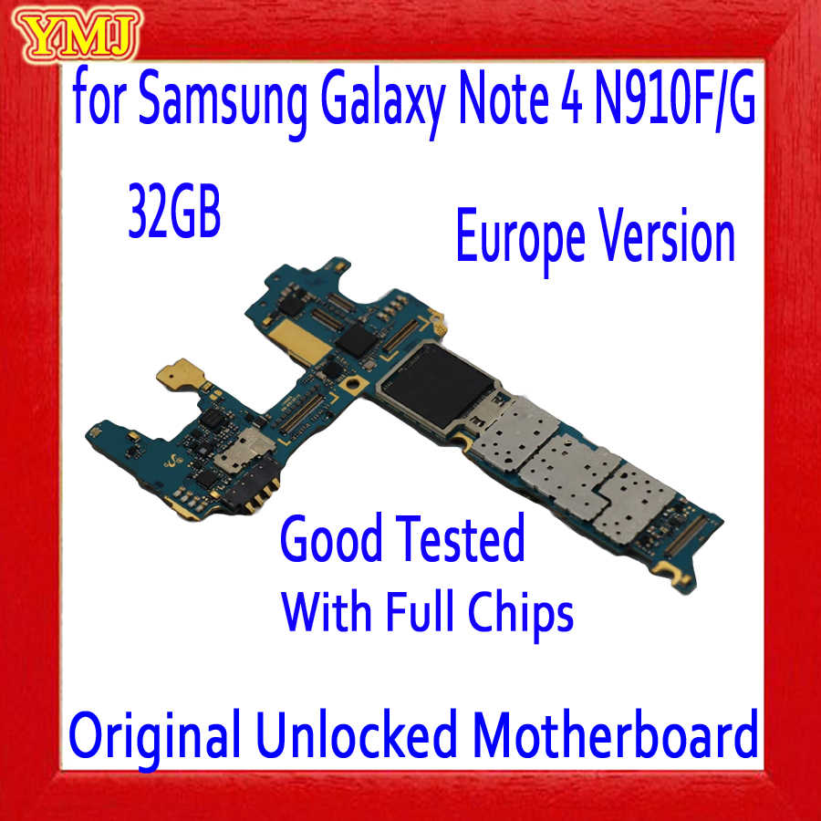 32GB <font><b>for</b></font> <font><b>Samsung</b></font> <font><b>Galaxy</b></font> <font><b>Note</b></font> <font><b>4</b></font> N910F/G <font><b>Motherboard</b></font> with Android System,Original unlocked <font><b>for</b></font> <font><b>Note</b></font> <font><b>4</b></font> N910F/G <font><b>Mainboard</b></font> Full Chips image