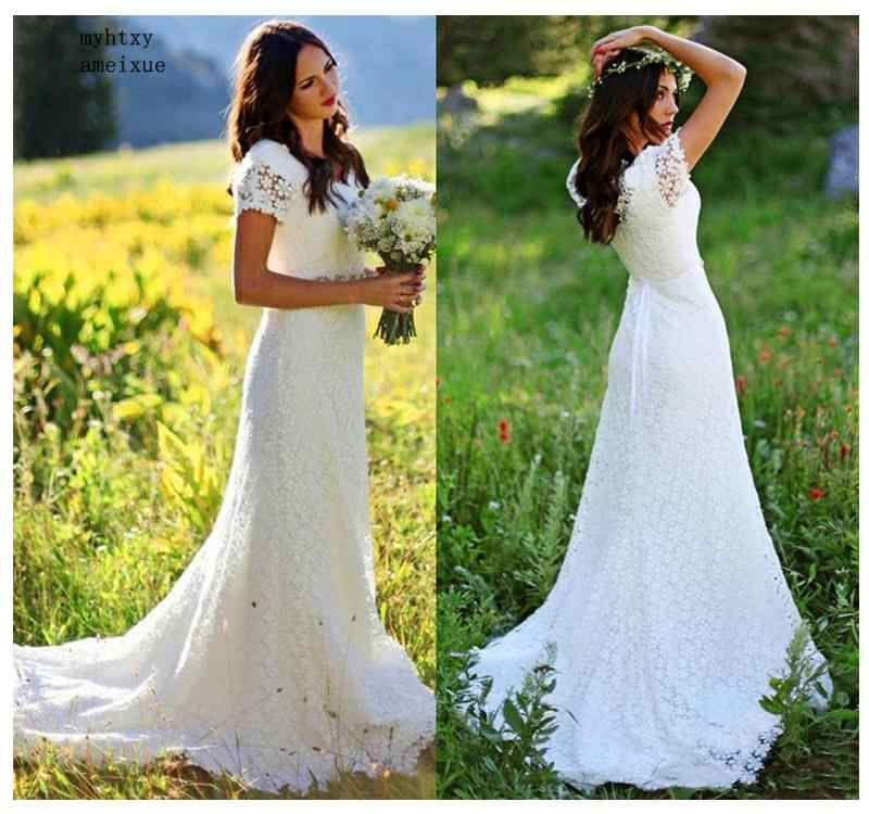 2019 Barato Vestido de Noiva Apliques de Renda Sereia Vestido de Casamento Branco/Marfim Sem Costas vestido de Noiva Praia Vestidos de Casamento Vestido de Noiva