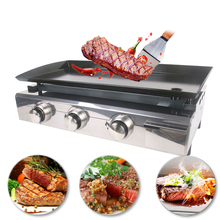 GZZT LPG Gas Griddle 3 Burners Plancha Stainless Steel Barbecue Grill Tabletop Grill Hot Plate Outdoor Barbecue Tools цена 2017