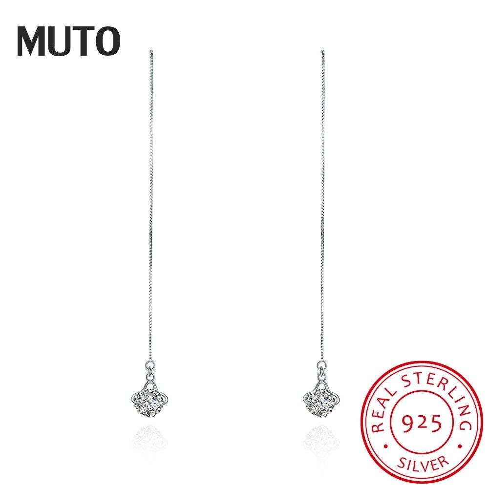 MUTO Flower Long Earrings CZ Bijoux 925 Sterling Silver Fine Jewelry Drop Earrings for Women 2017 New Fashion  SVED4015
