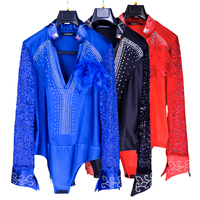 2019 New Ballroom Latin Dance Shirts Male Black Long Sleeve Lace V Collar Shirt Men Samba Cha Cha Dancing Tops Performance Wear
