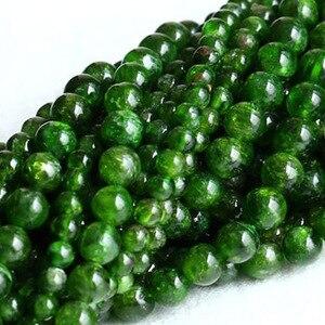 Image 3 - 7 14 ミリメートルナチュラルグリーン透輝石宝石石ビーズラウンド DIY ルースビーズの場合アクセサリー 15 女性男性ギフト