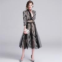 HIGH QUALITY New Fashion 2019 Runway Dress Women's Lace Gauze Embroidery Dress