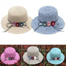 NEW Women Girls Summer Outdoor Solid Color 3 Flowers bowknot Lace-up Design Straw Hat Wide Large Brim Foldable Sun Hat Beach Cap