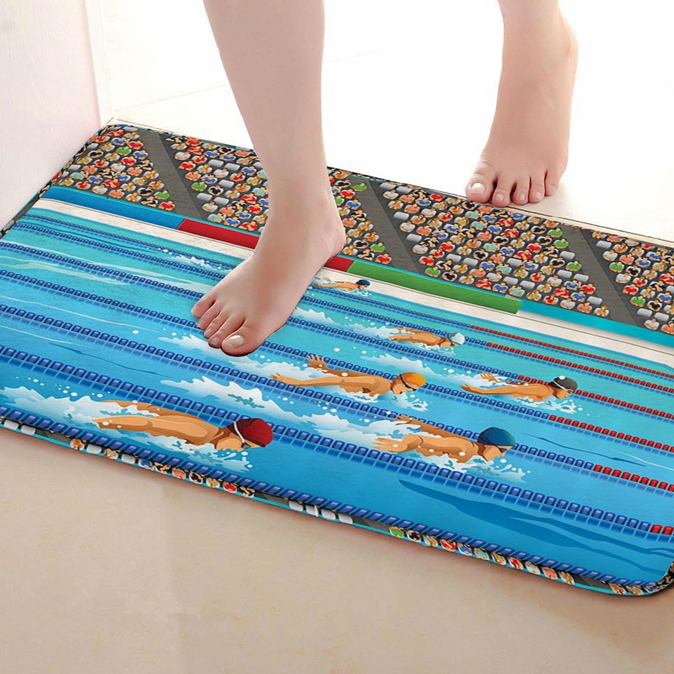 Swimming competiton Style Bathroom Mat,Funny Anti skid Bath Mat,Shower Curtains Accessories,Matching Your Shower Curtain