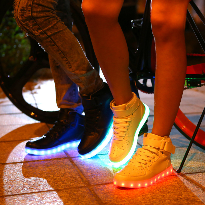 High To Help Casual Shoes Led Colorful Led Light Shoes Usb Rechargeable Shoes Wholesale Men's Shoes Men's Casual Shoes