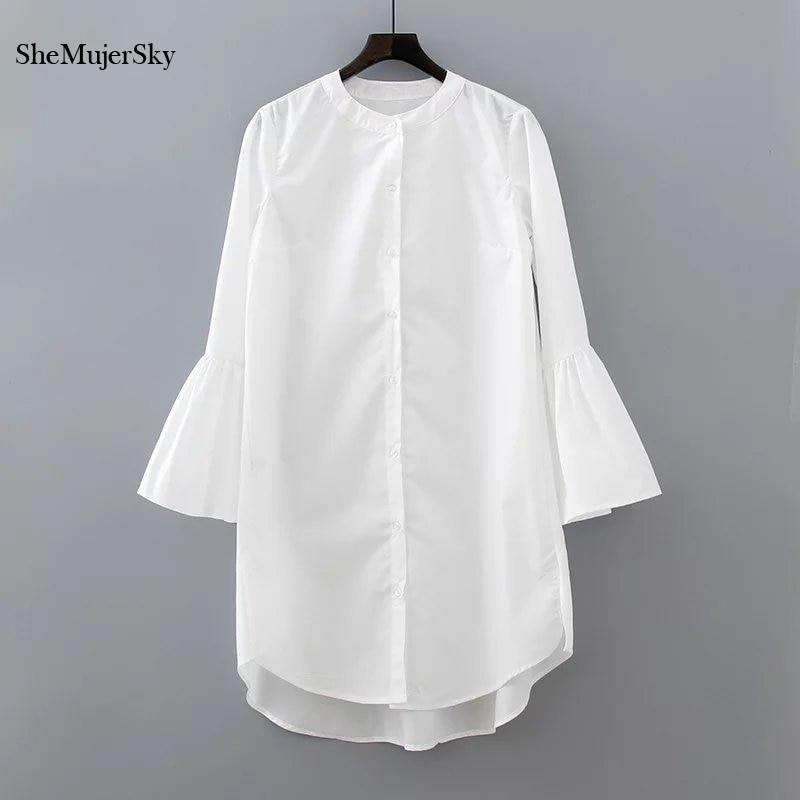Blanco Camisa de Vestir de Verano 2017 de Moda Manga de la Llamarada Elegante Mujer Vestido de Ropa Informal Vestidos