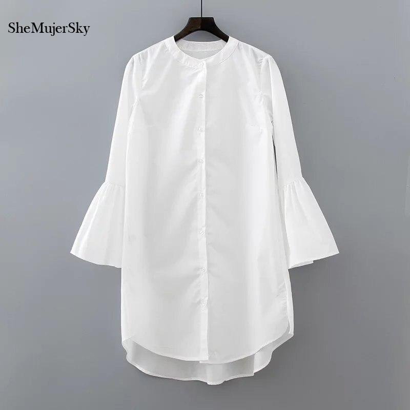 Camisa blanca manga flare dress summer 2017 fashion elegant woman dress casual r