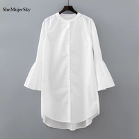 White Shirt Dress Summer 2017 Fashion Flare Sleeve Elegant Woman Dress Casual Clothing Vestidos