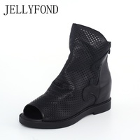 JELLYFOND Genuine Leather Cuts Out Women Gladiator Sandals Peep Toe Hidden Wedge Bootie Sandals Designer Summer Shoes Woman