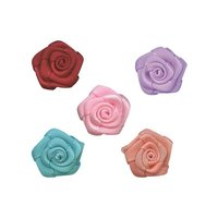 200pcs Bag Lace Handmade Rose Ribbon Flower Color To Choose DIY Craft Applique Floral Garment Ornament