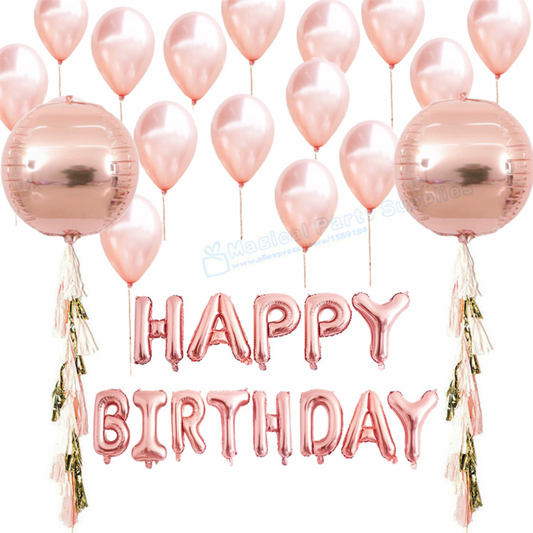 1 Set Rose Gold Happy Birthday Balloon Orb Rose Balloons
