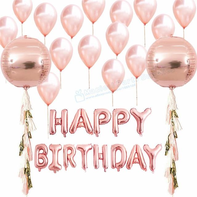 1 Set Rose Gold Happy Birthday Balloon Orb Balloons With Tassel Garland Decoration Latex