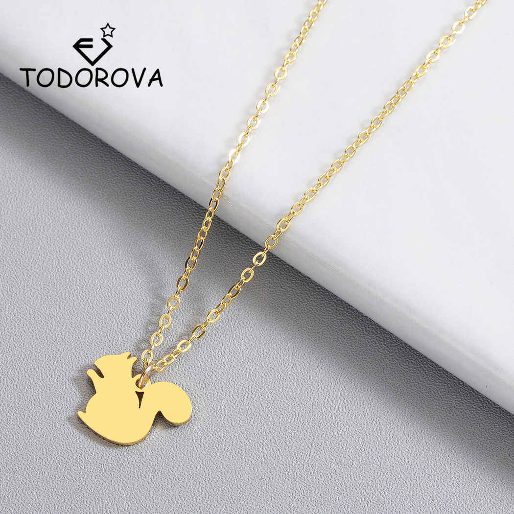 Todorova Cute Squirrel Chinchilla Pendant Necklace Chipmunk Necklace Woodland Tree Animal Jewelry Stainless Steel Women Necklace