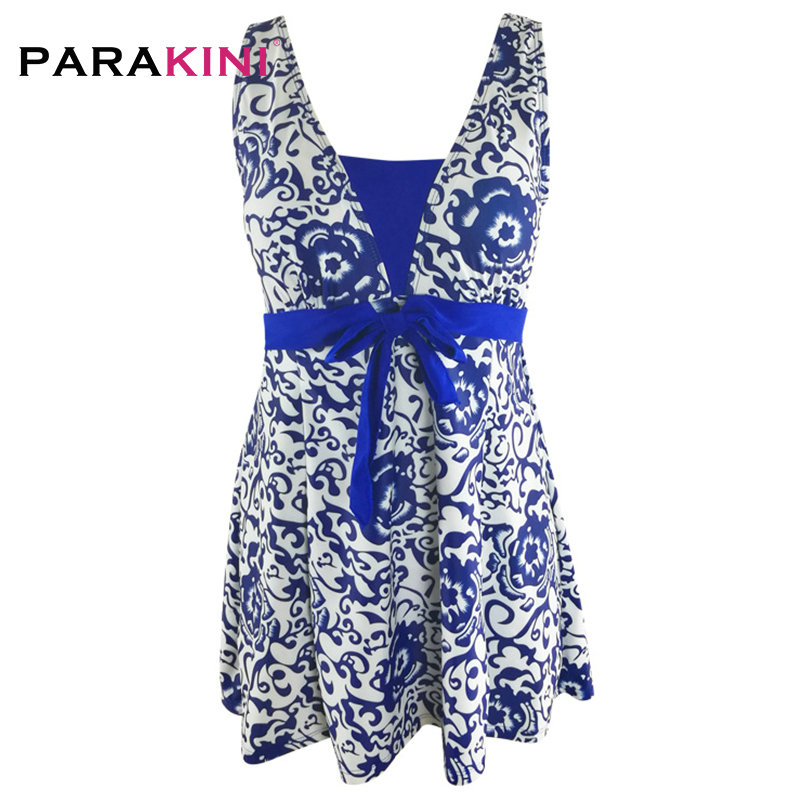 PARAKINI 2018 New Sexy Stripe Padded Halter Skirt Swimwear Women One Piece Swimsuit Beachwear Bathing Suit Dress Plus Size M-3XL 3