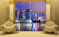 Shade Fabric Night City Luxury Blackout 3D Curtains Drapes For Living room Bedding room Hotel Office Drapes Home Wall Tapestry