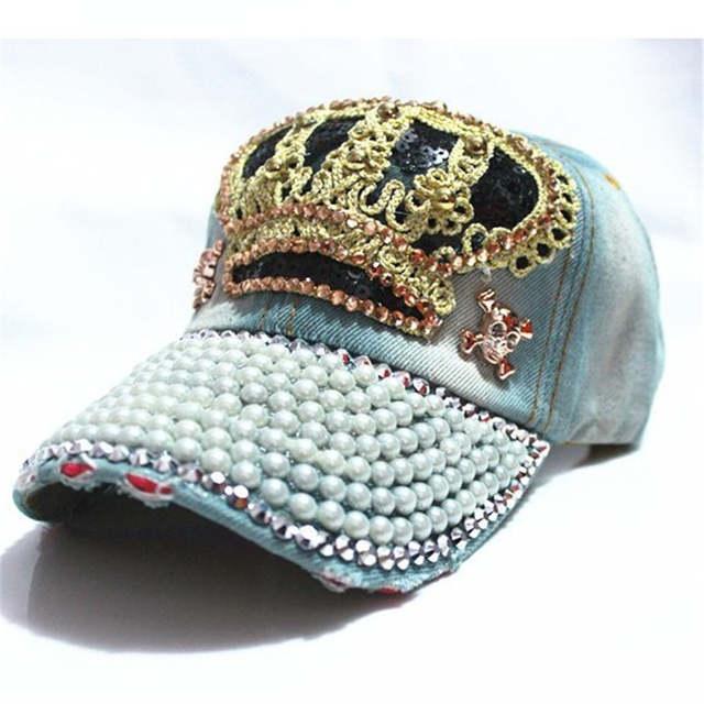 Rancyword  Women Denim snapback Hat Lady jean hat Point drill pearl cowboy  hat rhinestone 490e36526c34