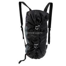 Mochila de almacenamiento de equipo de cuerda de escalada en roca al aire libre grande y ultra ligera plegable con hoja de tierra y correas de hombro negro