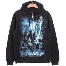 Men's 2016 autumn and winter hooded cardigan fleece printing Skull Devil Death rock hip-hop trend men's European style hoodies