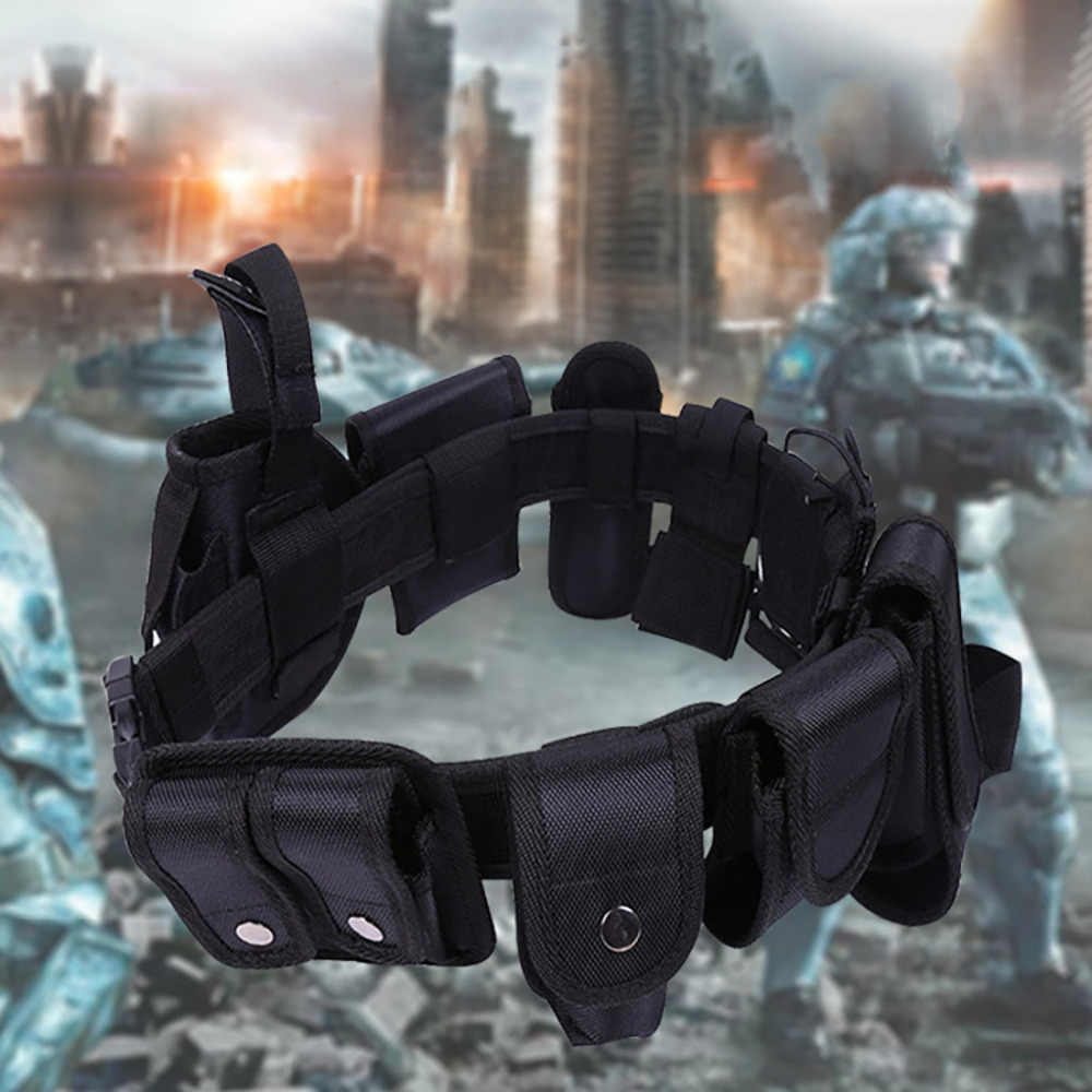 Полицейский охранник модульное силовое оборудование пояс для службы Тактический 600 нейлоновый тренировочный черный набор #5A01
