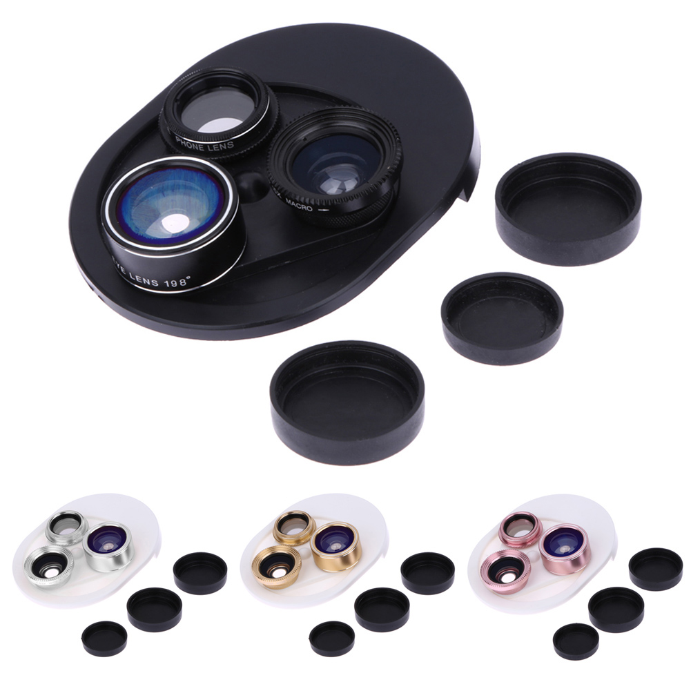 4 in 1 Cell Phone Clip-on Camera 198 Degree Fisheye Fish Eye Lens 0.63X Wide Angle 15X Macro Mobile Phone Lens Kit For iPhone 4